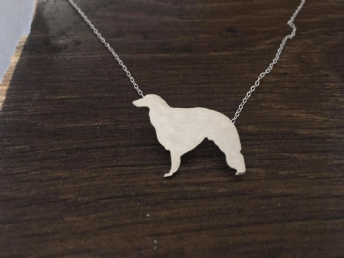 Borzoi dog  pendant sterling silver with hidden bail handmade by saw piercing